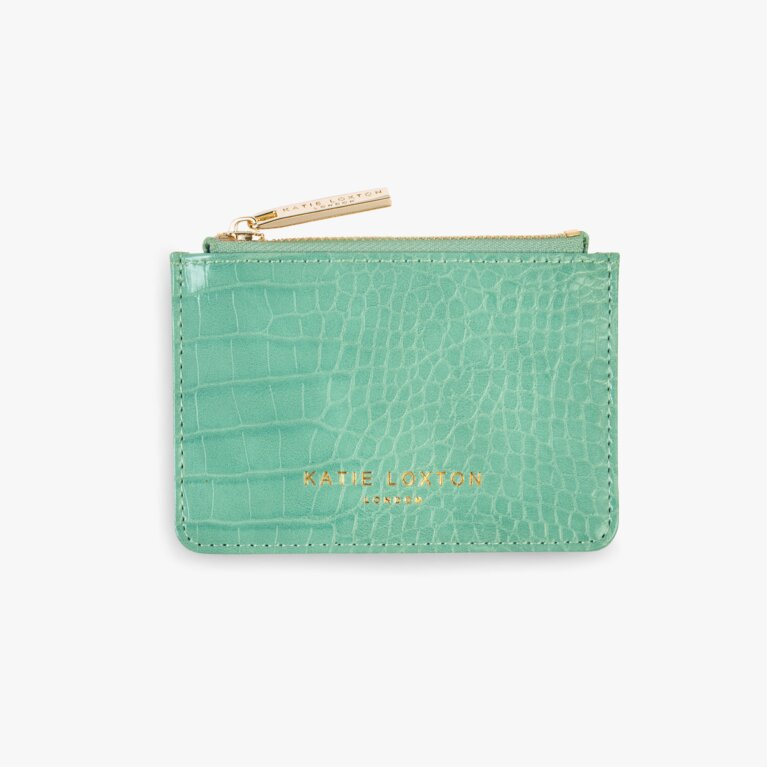 Celine Faux Croc Card Holder | Mint Green