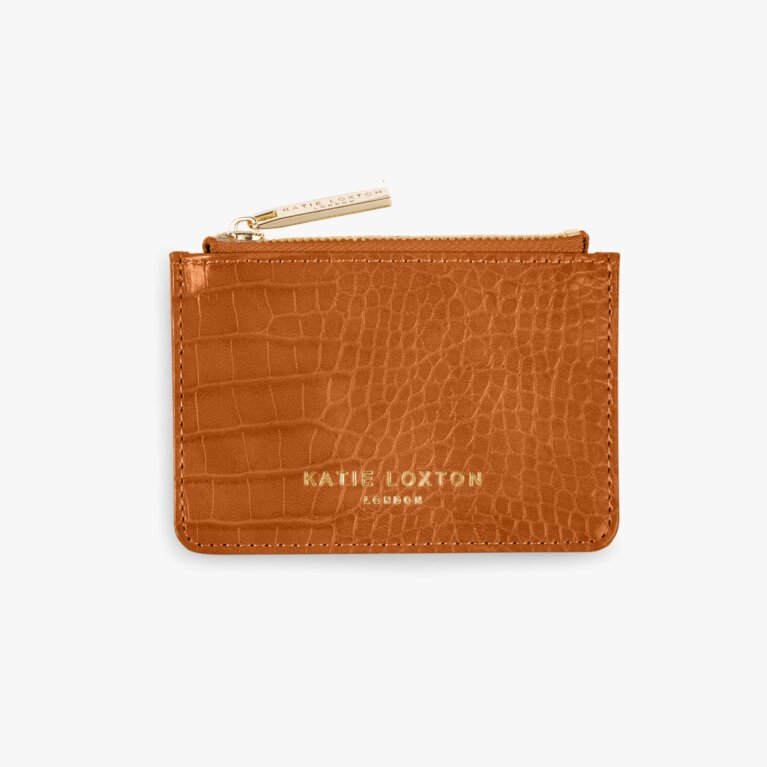 Celine Faux Croc Card Holder | Cognac
