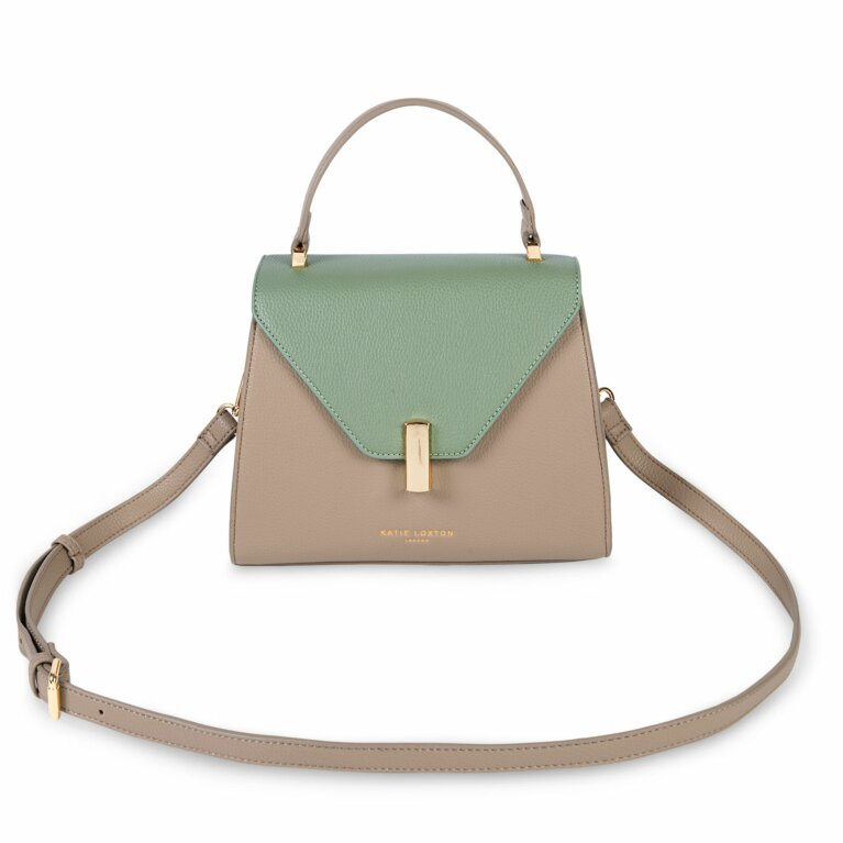 Casey Top Handle Bag | Sand and  Mint Green