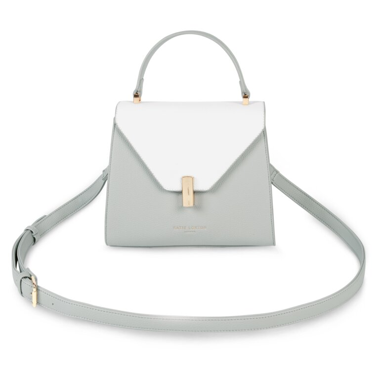 Casey Top Handle Bag In Grey And White