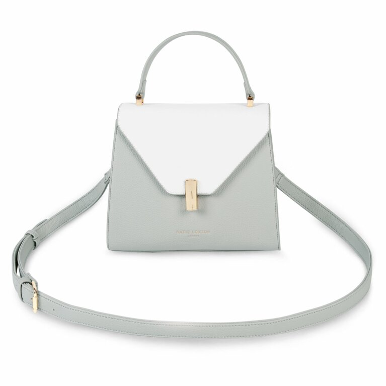 Casey Top Handle Bag | Grey and White