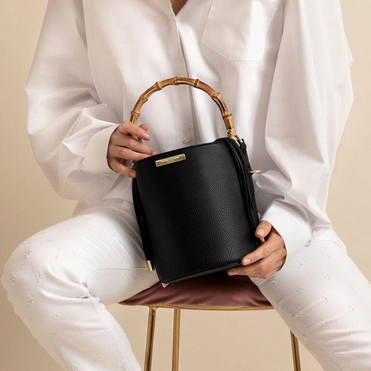 Jourdan Cylinder Bamboo Bag In Black