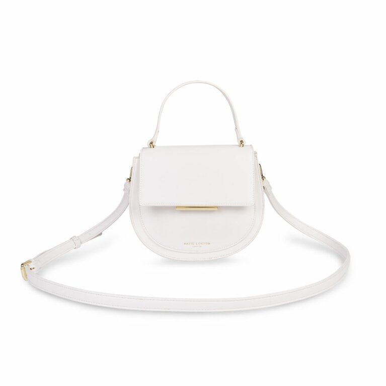 Alyce Saddle Purse | White