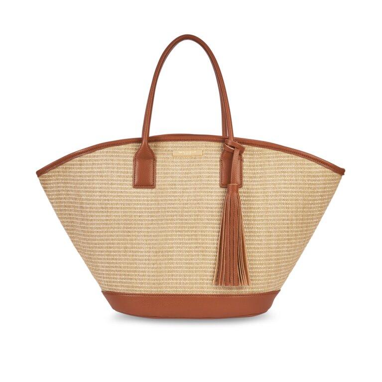 Maya Beach Bag In Cognac And Natural