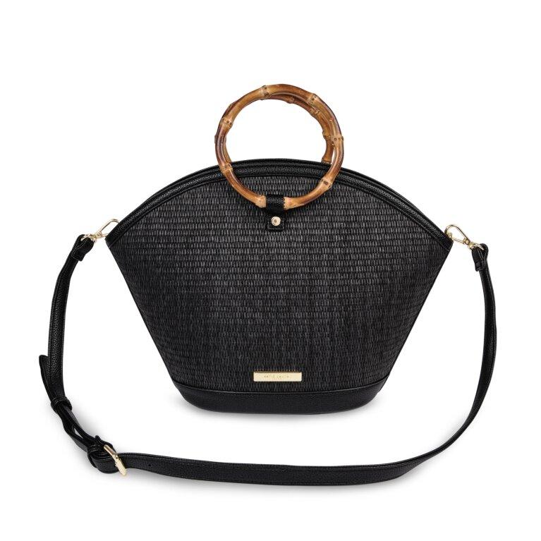 Capri Straw Round Handle Bag In Black