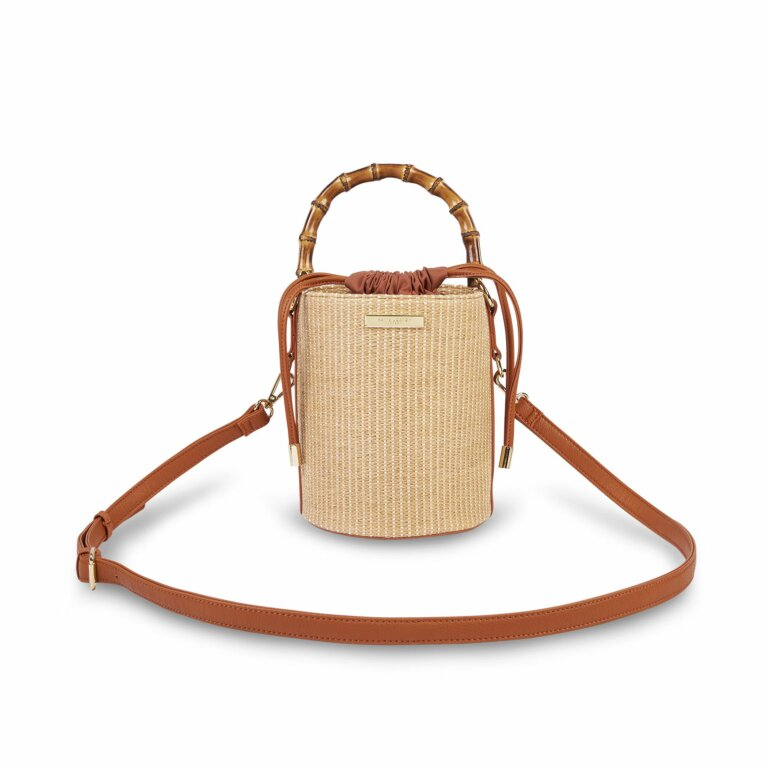 Jourdan Cylinder Bamboo Straw Bag | Cognac and Natural