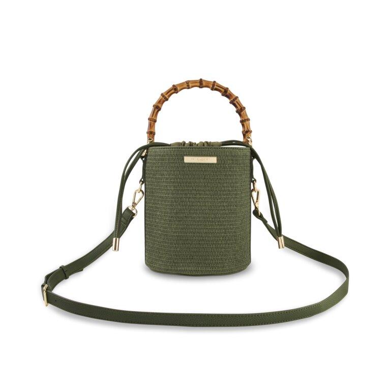 Jourdan Cylinder Bamboo Straw Bag In  Khaki