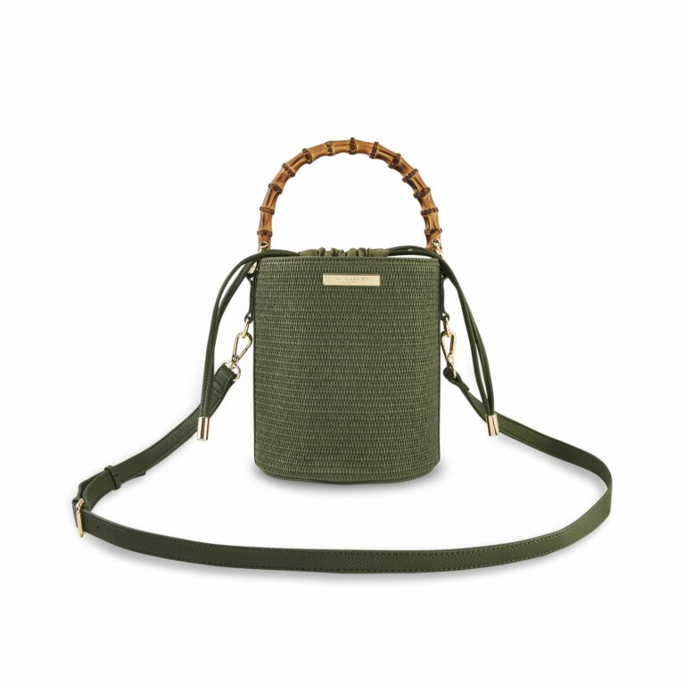 Jourdan Cylinder Bamboo Straw Bag | Khaki