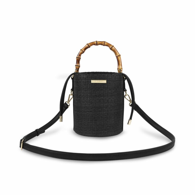 Jourdan Cylinder Bamboo Straw Bag | Black