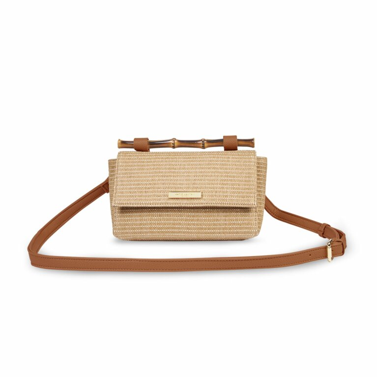 Gigi Straw Bamboo Handle Crossbody Bag | Cognac and Natural