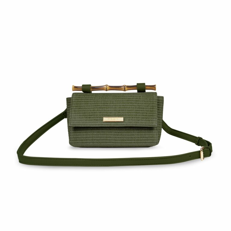 Gigi Straw Bamboo Handle Crossbody Bag | Khaki