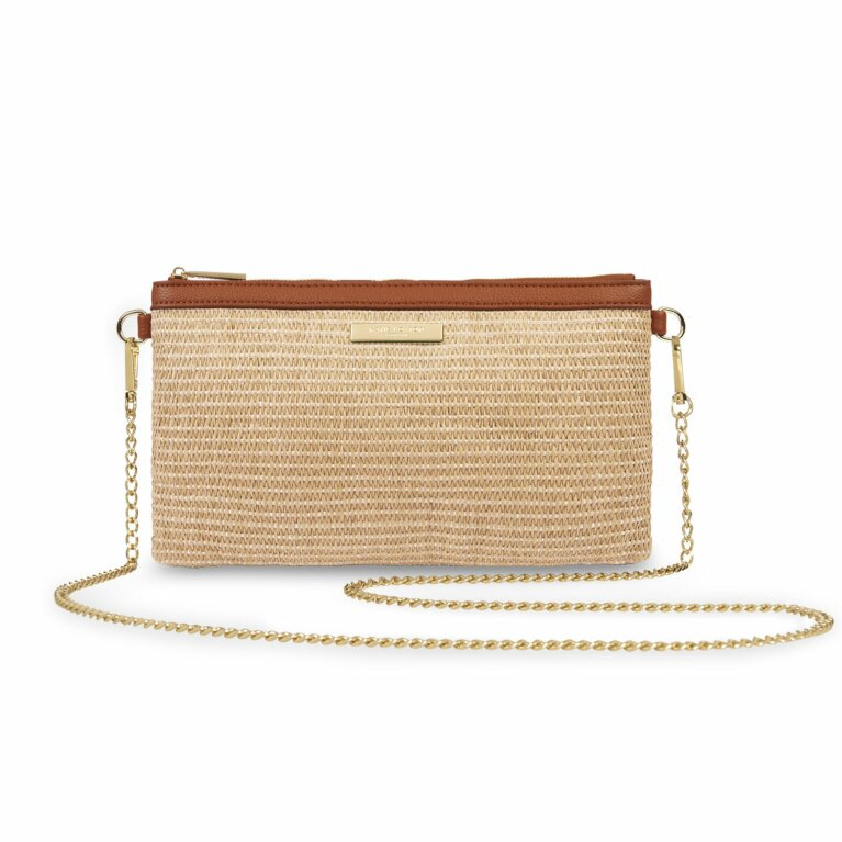 Freya Straw Crossbody Bag | Cognac and Natural