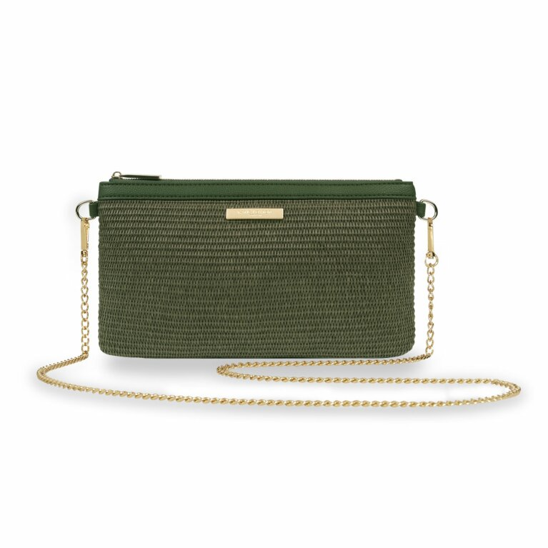 Freya Straw Crossbody Bag | Khaki