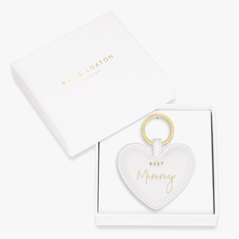 Beautifully Boxed Sentiment Heart Keyring Best Mummy In White