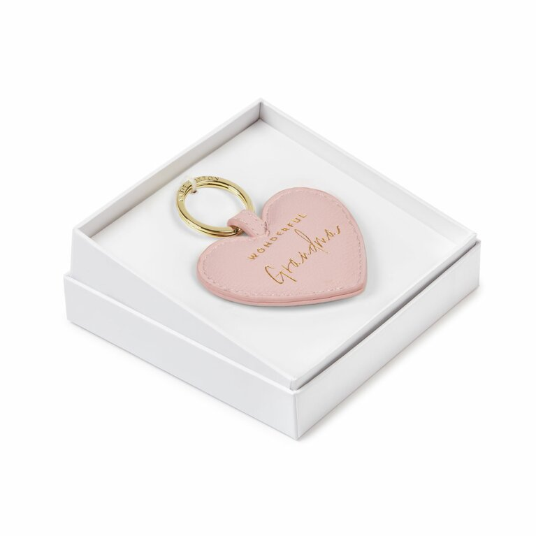 Beautifully Boxed Sentiment Heart Keyring | Wonderful Grandma | Blush Pink