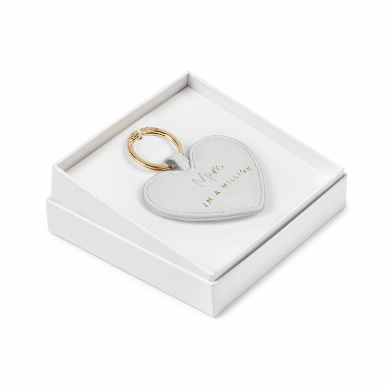 Beautifully Boxed Sentiment Heart Keyring | Mum In A Million | Grey