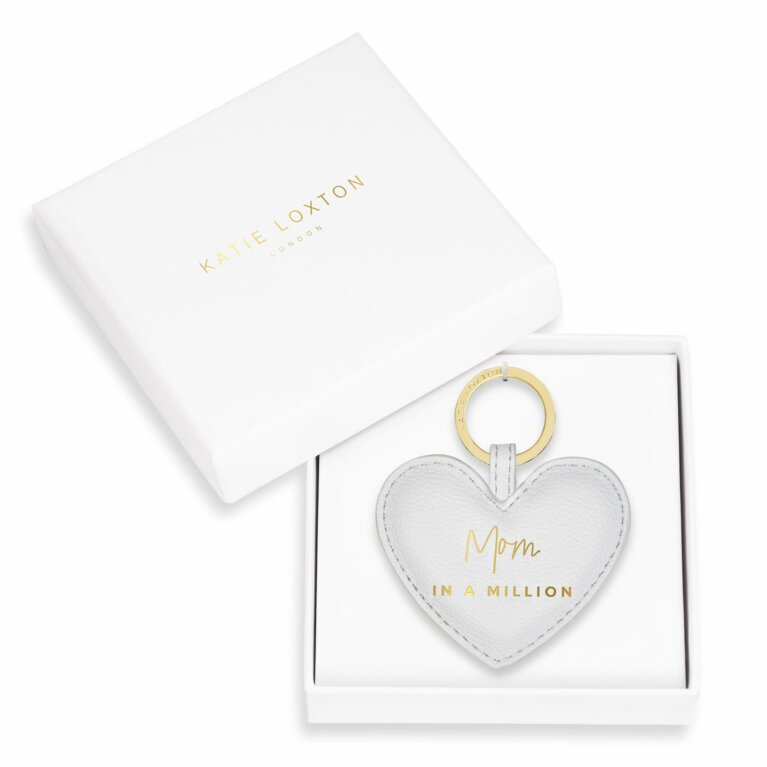 Beautifully Boxed Sentiment Heart Keychain | Mom In A Million | Gray