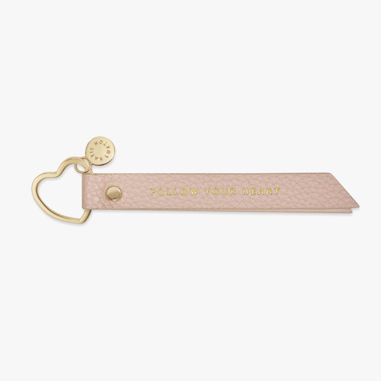 Flag Keyring Follow Your Heart In Blush Pink