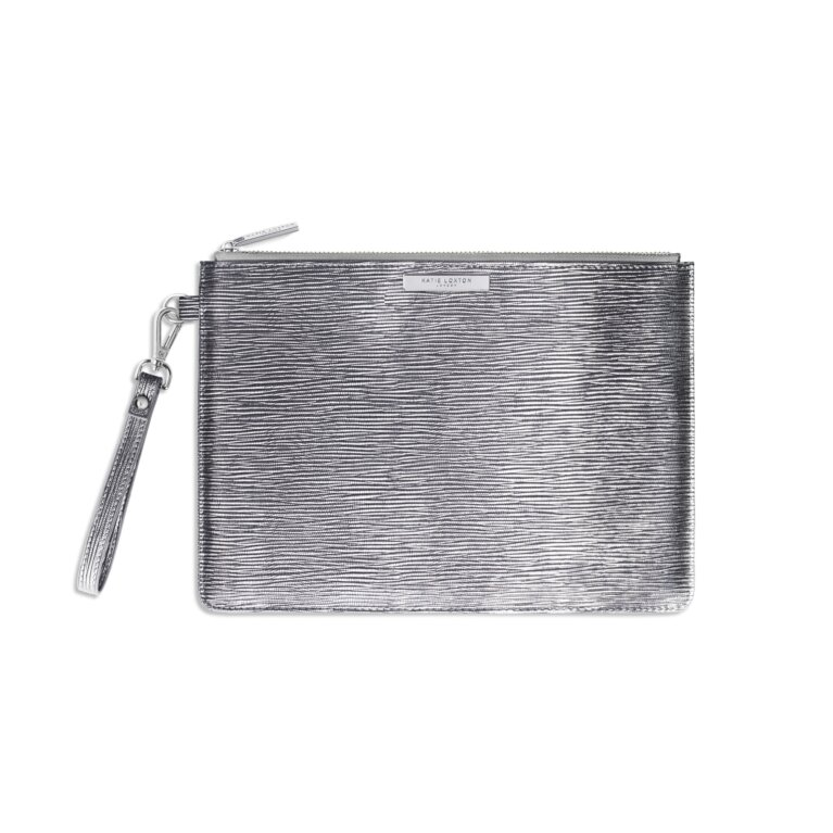 Zara Large Clutch Bag | Metallic Silver