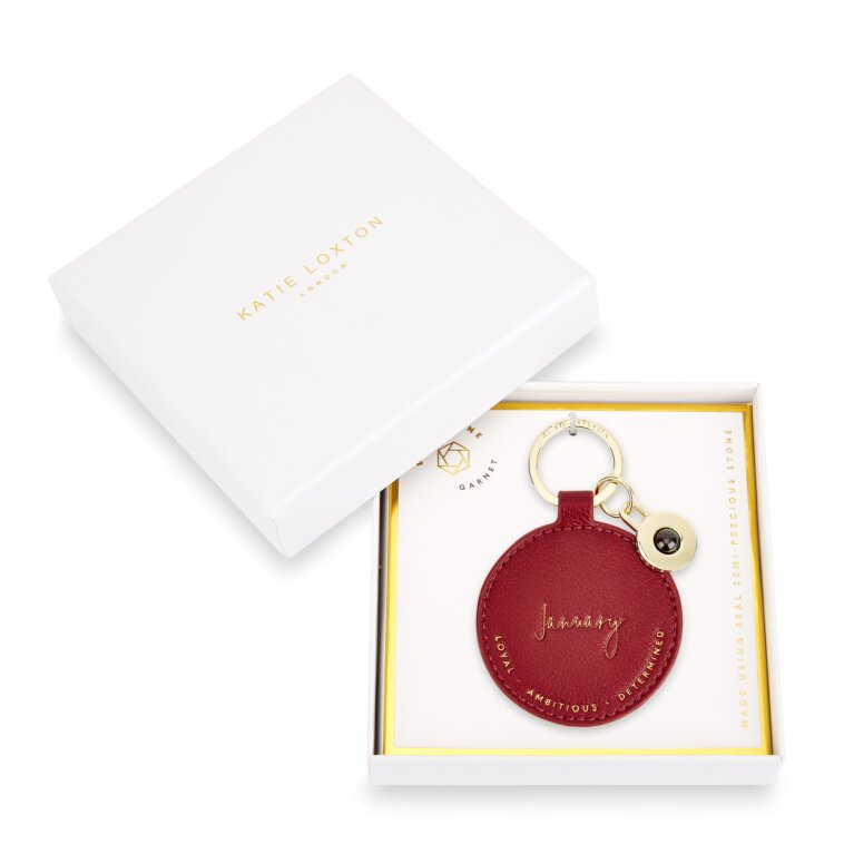 Birthstone Keychain January Garnet in Dark Red