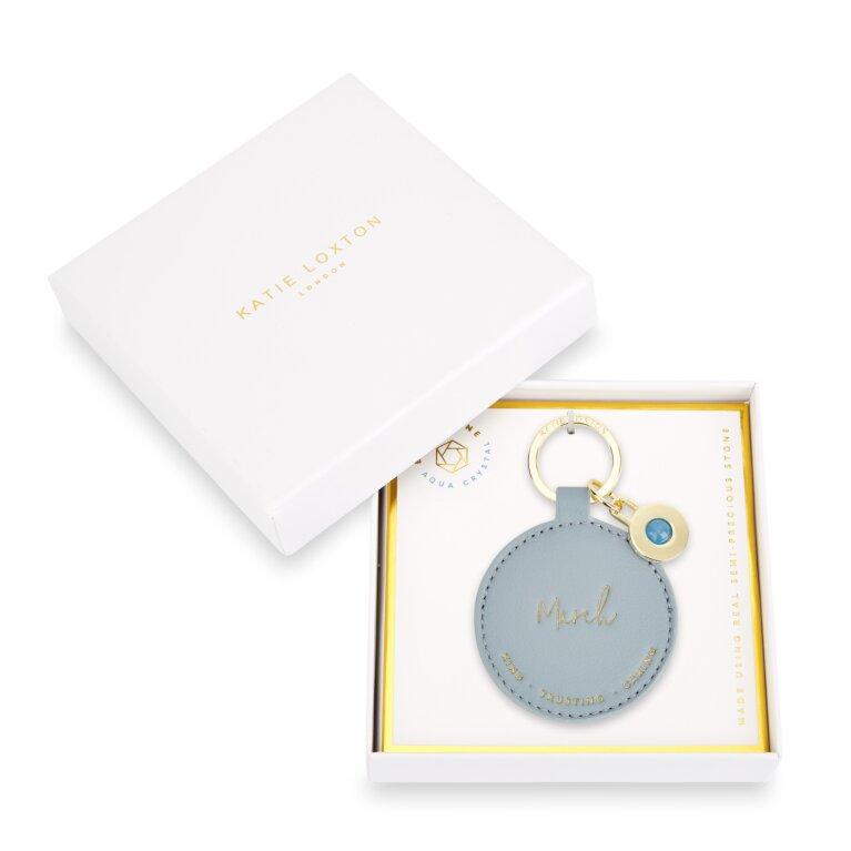 Birthstone Keychain March Aqua Crystal in Blue