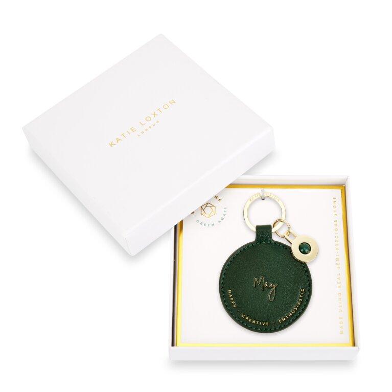 Birthstone Keychain May Green Agate in Dark Green