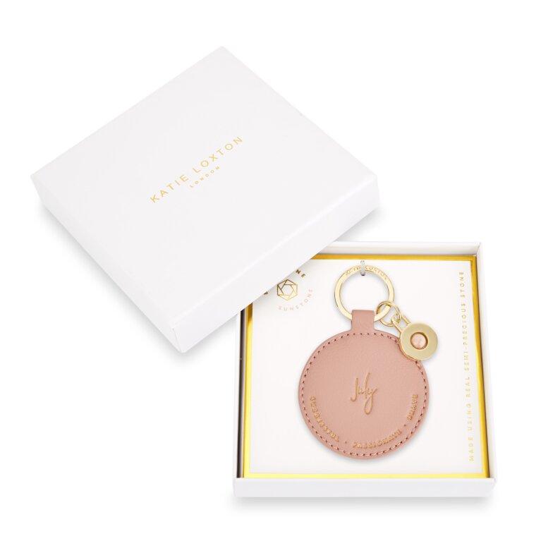 Birthstone Keychain July Sunstone in Blush Pink