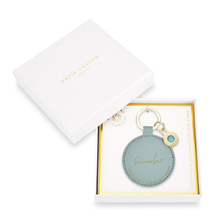Birthstone Keychain December Turquoise in Duck Egg Blue