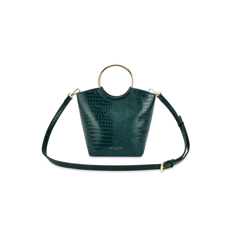 Hallie Hoop Faux Croc Purse in Forest Green