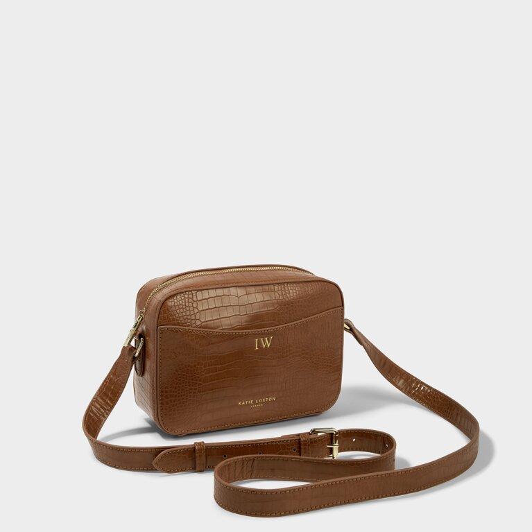 Cara Faux Croc Crossbody Bag in Cognac