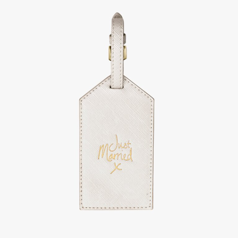 Luggage Tag | Just Married | Metallic White