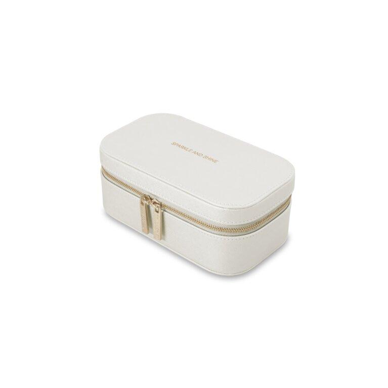 Travel Jewelry Box | Sparkle And Shine | Metallic White