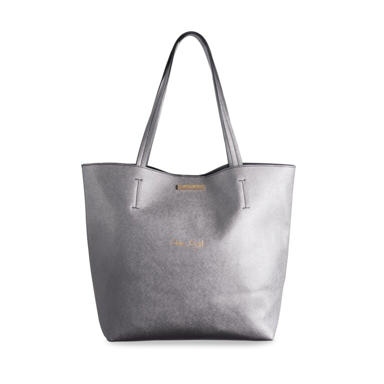 Parker Shopping Bag Shine Bright In Metallic In Charcoal