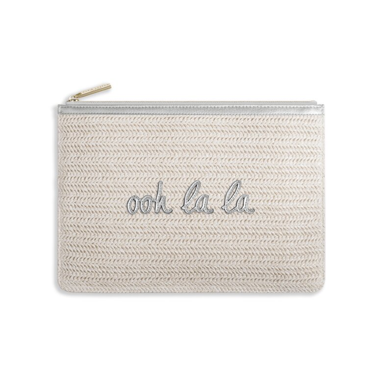 Coco Clutch | Ooh La La | Large Straw Clutch | Metallic Silver