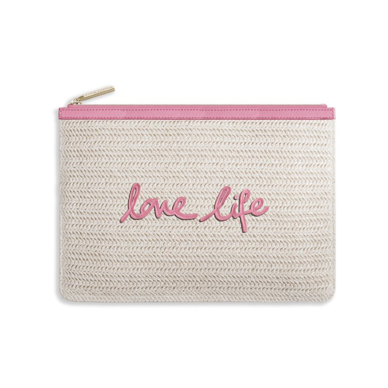 Coco Clutch | Love Life | Large Straw Clutch | Pink