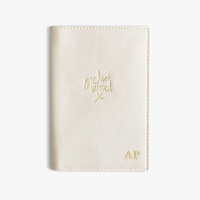 Passport Cover Just Married In Metallic White