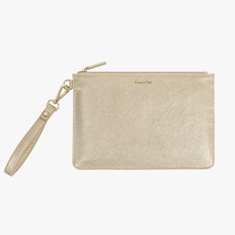 Secret Message Pouch | Prosecco Time/Enjoy Today Sip Sip Hooray! | Metallic Gold