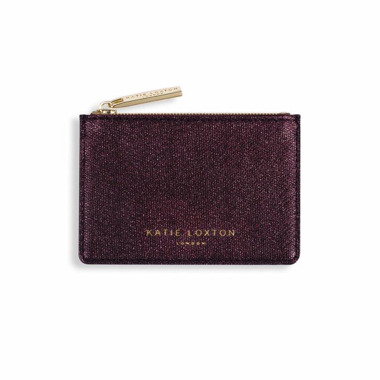 Alexa Metallic Card Holder | Burgundy Shimmer