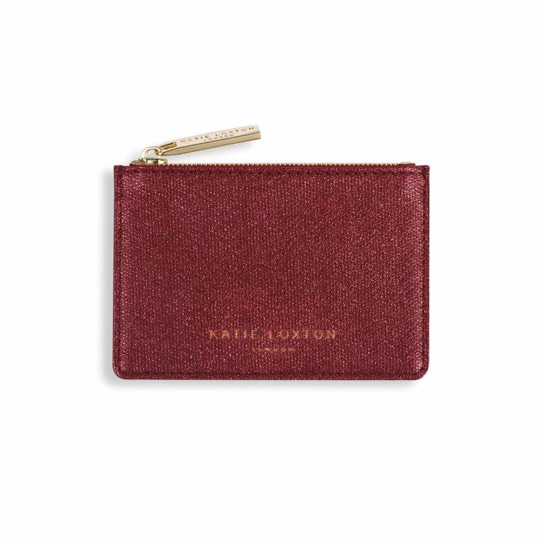 Alexa Metallic Card Holder | Red Shimmer