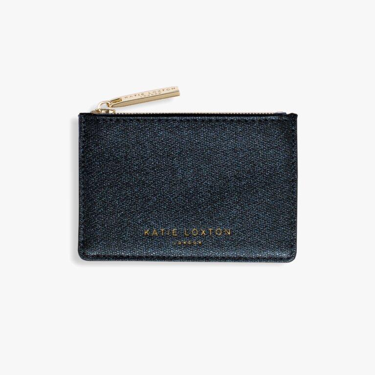 Alexa Metallic Card Holder | Blue Shimmer