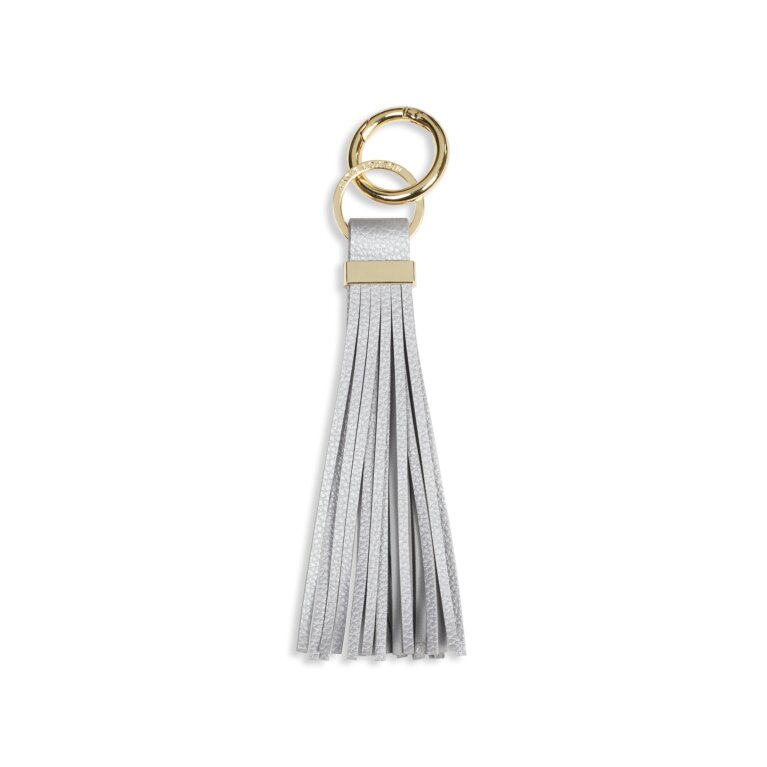 Lora Tassel Keyring | Metallic Silver