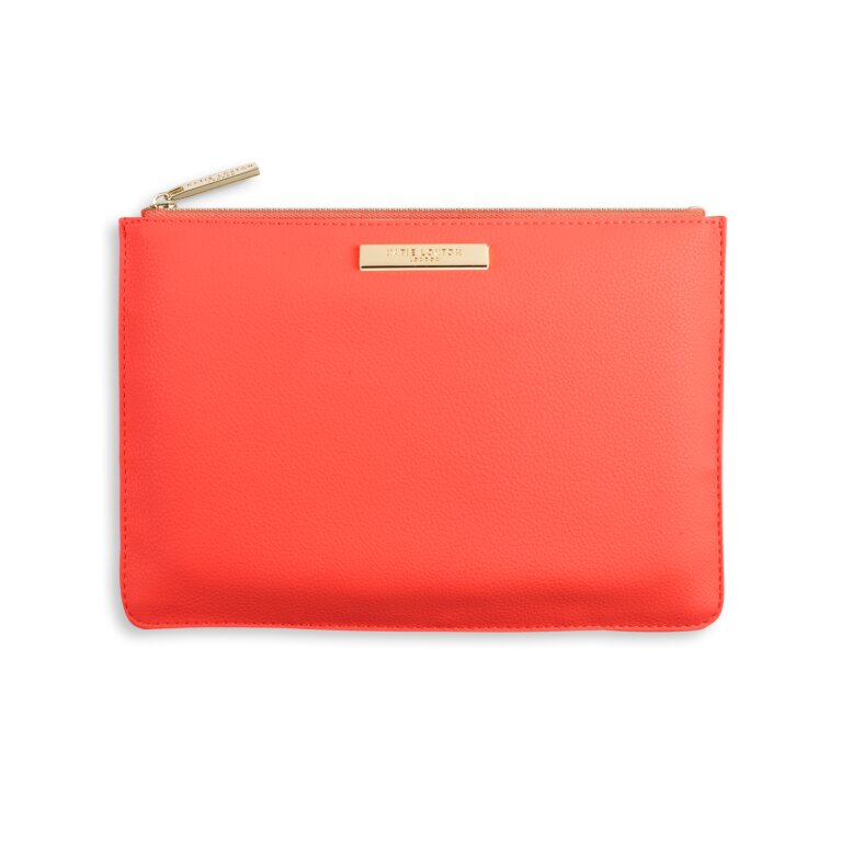 Soft Pebble Perfect Pouch | Coral