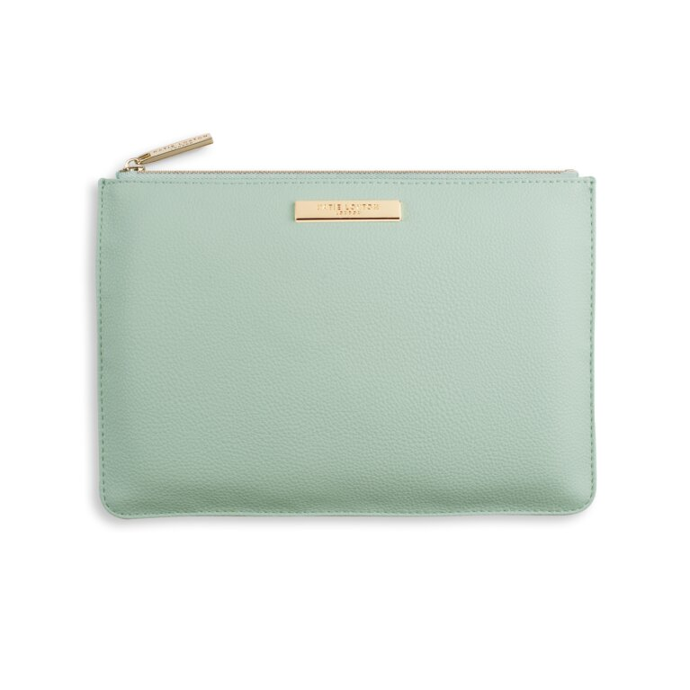 Soft Pebble Perfect Pouch In Seafoam Green
