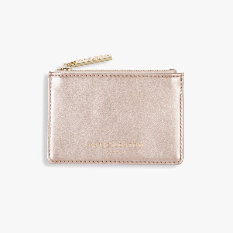 Alexa Metallic Card Holder | Metallic Rose Gold