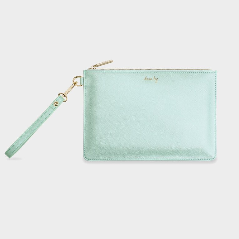 Secret Message Pouch | Dream Big/If You Dream It You Can Do It! | Metallic Mint