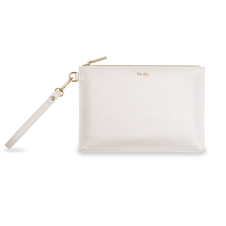 Secret Message Pouch | Tres Chic/Effortlessly Chic In Every Way | Metallic White