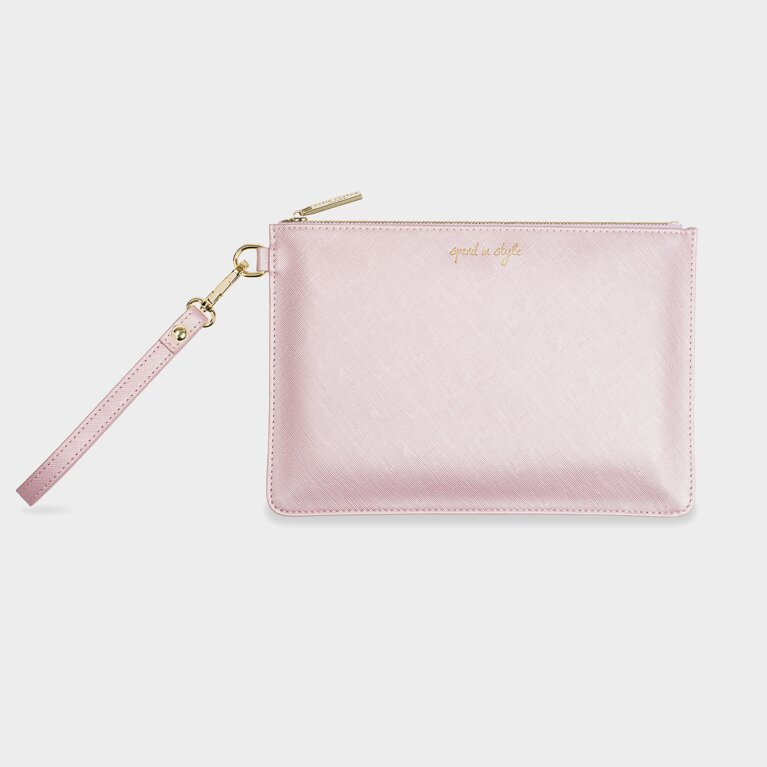 Secret Message Pouch | Spend In Style/Buy The Things You Really Love Metallic Pink