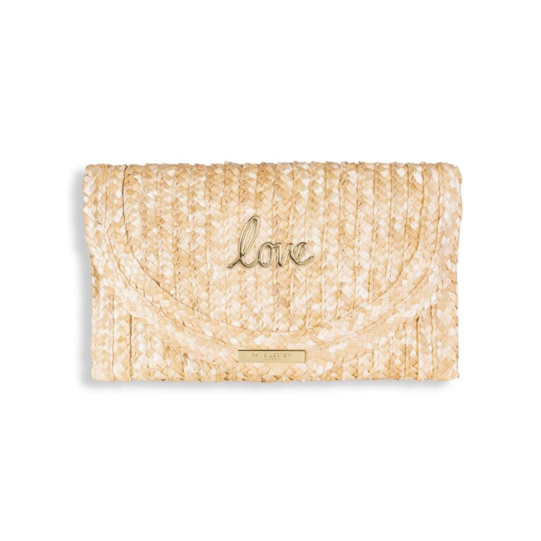 Sofia Straw Clutch Bag Love Natural And Pink