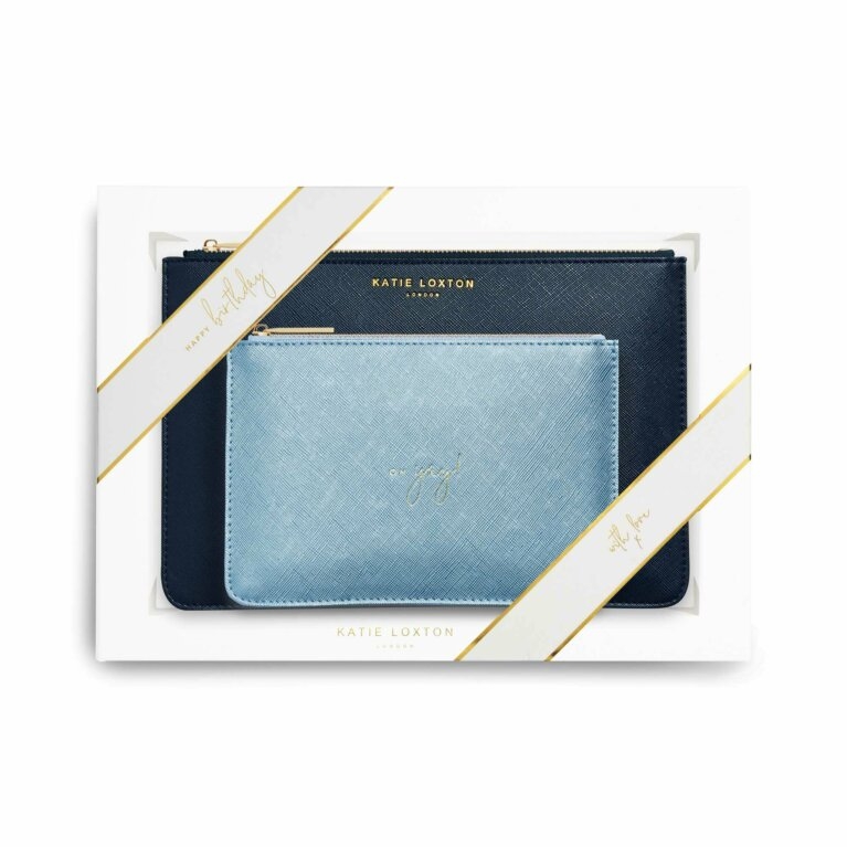 Perfect Pouch Gift Set Happy Birthday! Navy And Metallic Blue