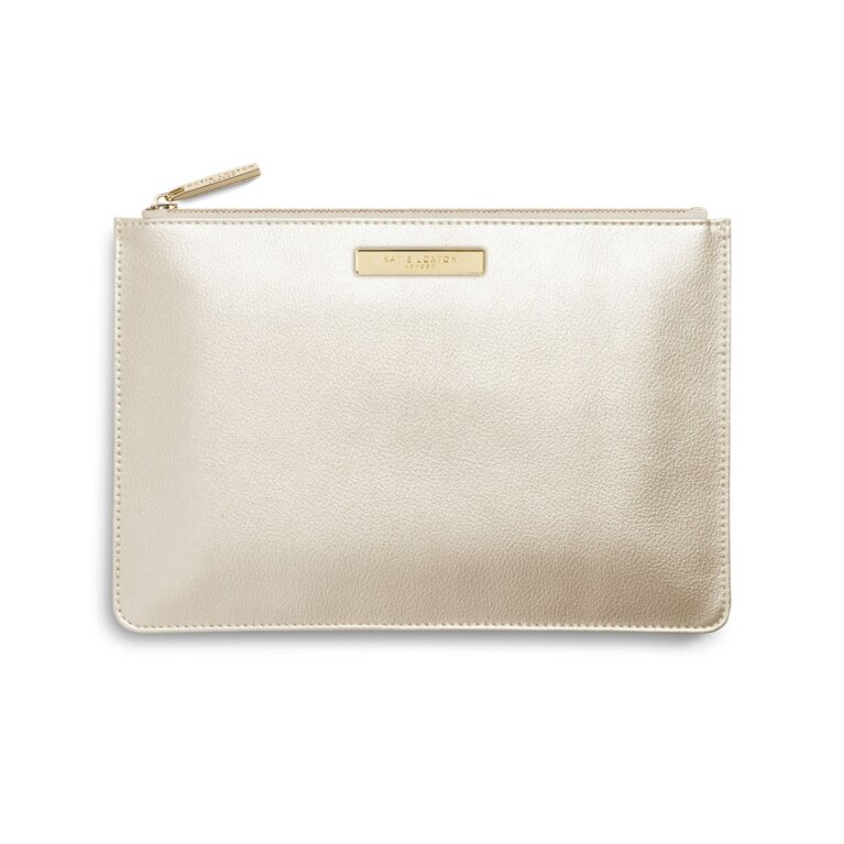 Soft Pebble Perfect Pouch | Metallic Champagne